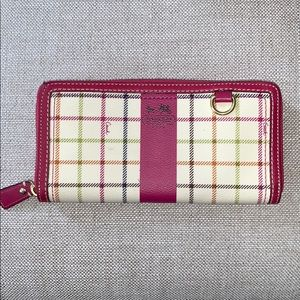 Coach Heritage Stripe Tattersall Zip Around Wallet